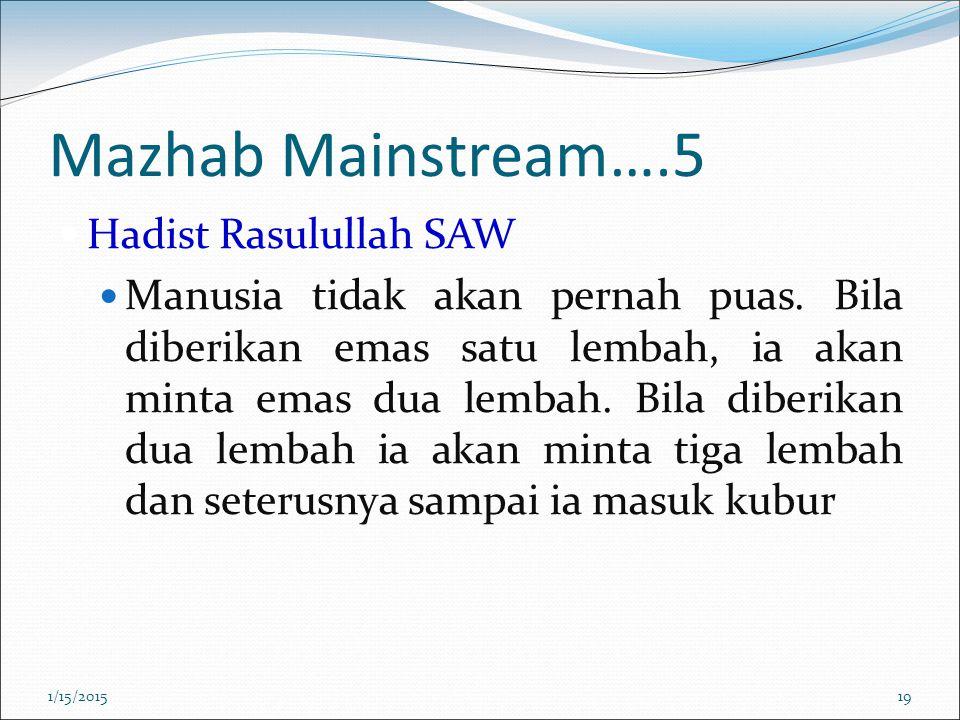 Mazhab Mainstream….5 Hadist Rasulullah SAW