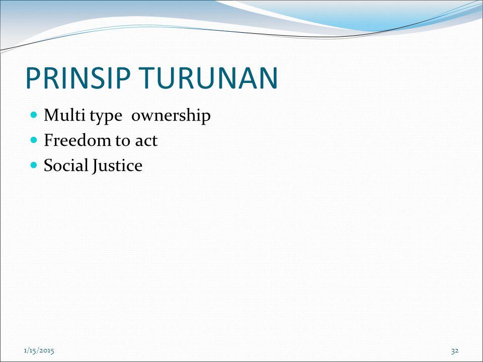 PRINSIP TURUNAN Multi type ownership Freedom to act Social Justice