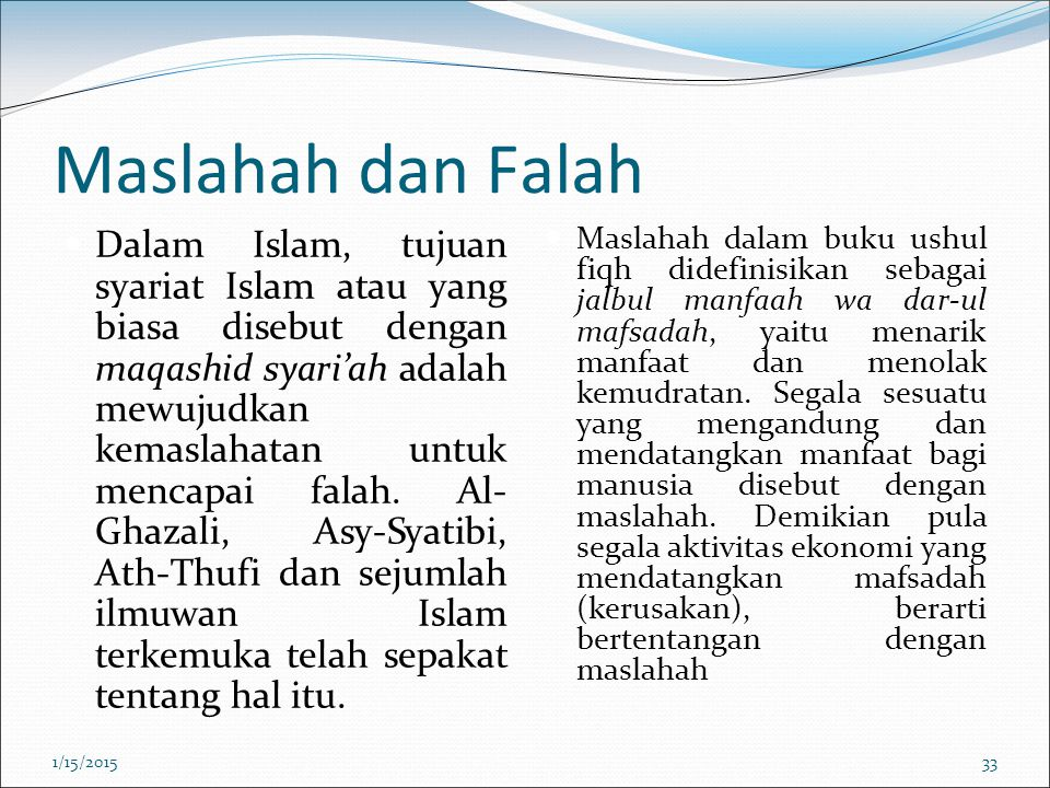 Maslahah dan Falah