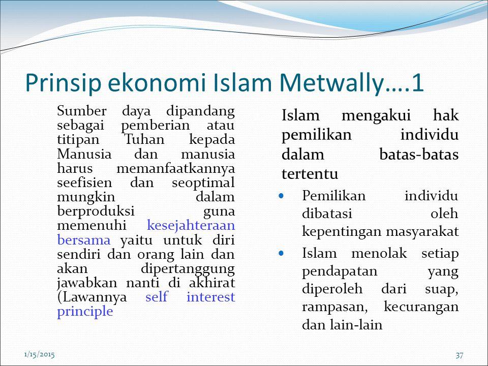 Prinsip ekonomi Islam Metwally….1