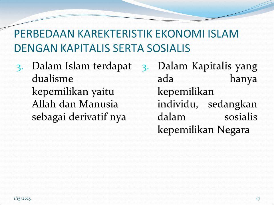 PERBEDAAN KAREKTERISTIK EKONOMI ISLAM DENGAN KAPITALIS SERTA SOSIALIS