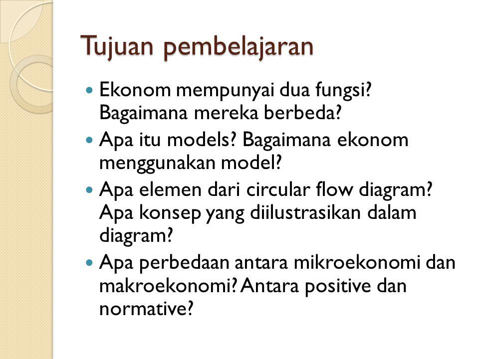 Tujuan pembelajaran Ekonom mempunyai dua fungsi Bagaimana mereka berbeda Apa itu models Bagaimana ekonom menggunakan model