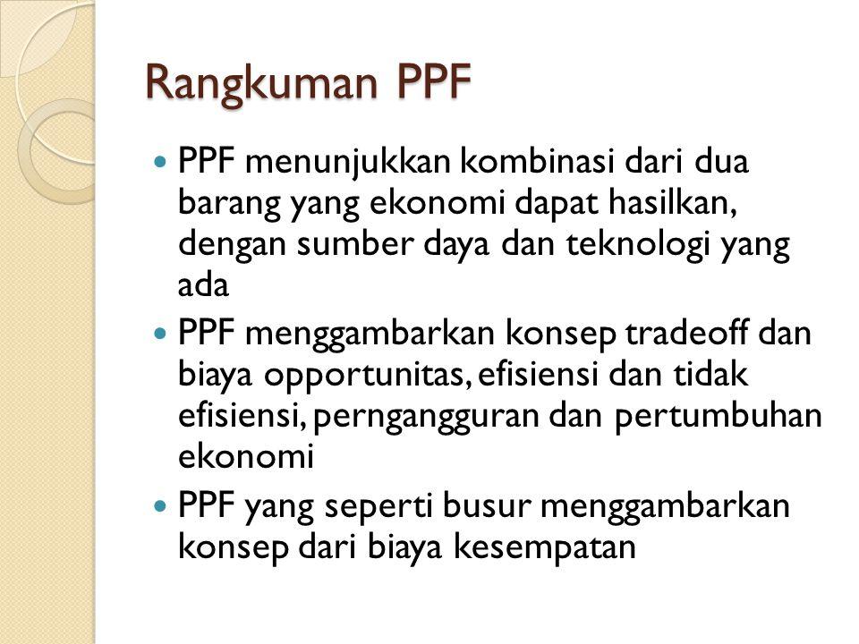 Rangkuman PPF PPF menunjukkan kombinasi dari dua barang yang ekonomi dapat hasilkan, dengan sumber daya dan teknologi yang ada.