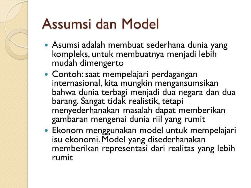 Assumsi dan Model Asumsi adalah membuat sederhana dunia yang kompleks, untuk membuatnya menjadi lebih mudah dimengerto.