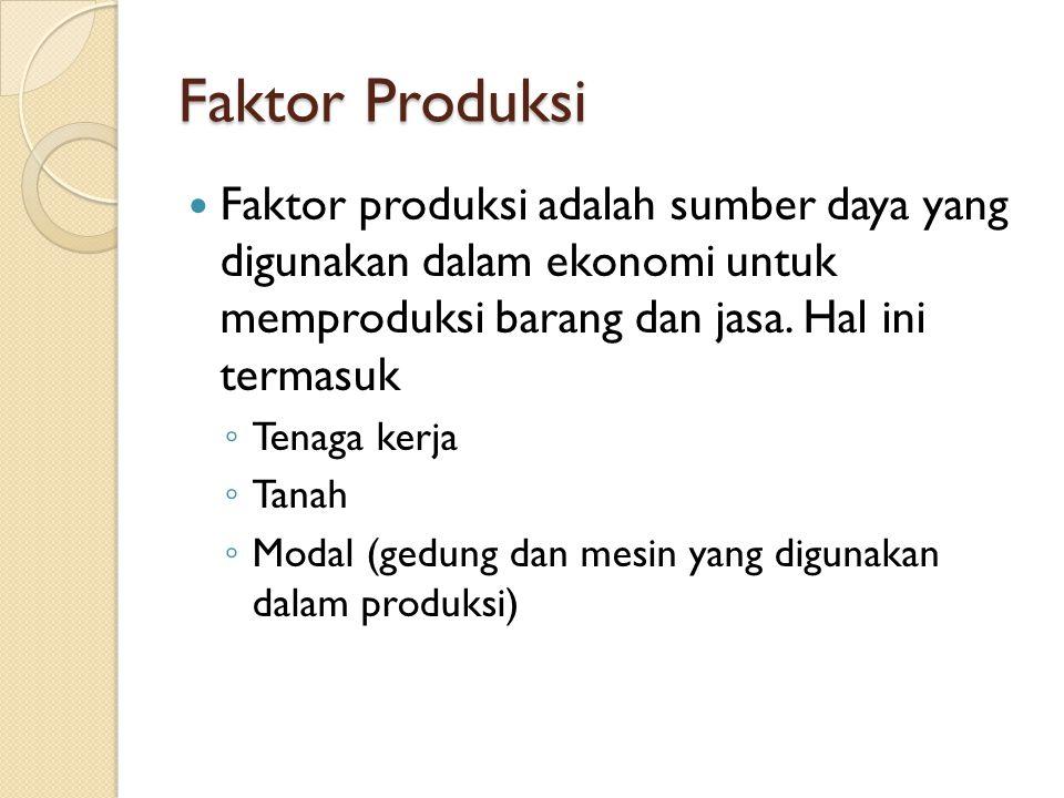 Faktor Produksi Faktor produksi adalah sumber daya yang digunakan dalam ekonomi untuk memproduksi barang dan jasa. Hal ini termasuk.