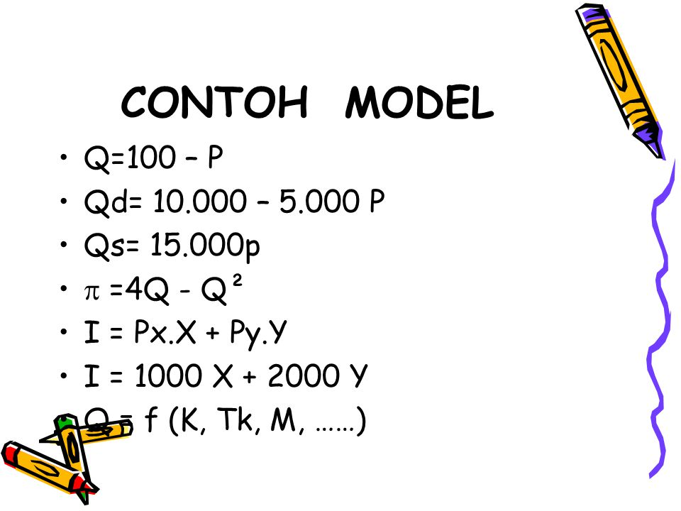 CONTOH MODEL Q=100 – P Qd= 10.000 – 5.000 P Qs= 15.000p  =4Q - Q²