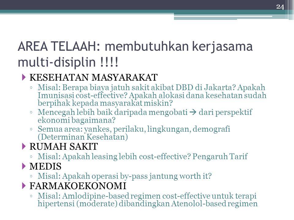 AREA TELAAH: membutuhkan kerjasama multi-disiplin !!!!