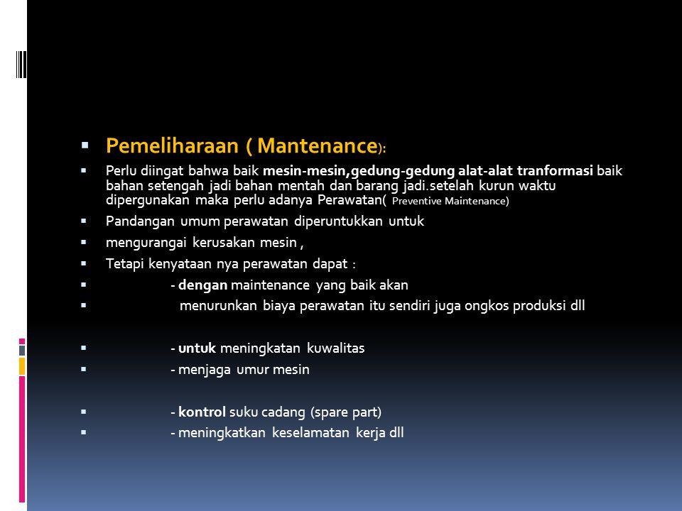Pemeliharaan ( Mantenance):