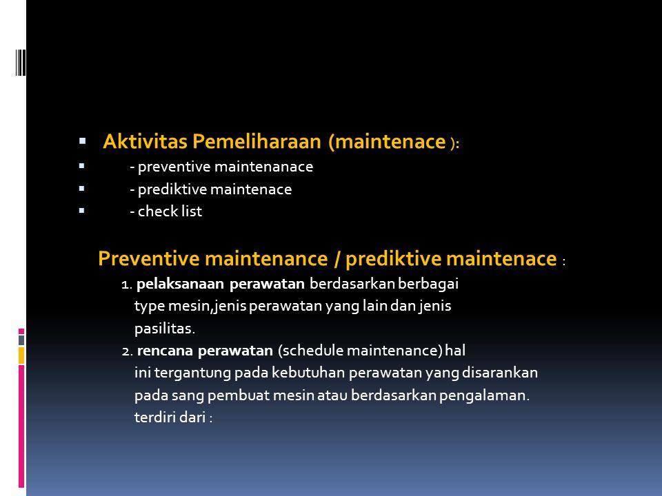 Aktivitas Pemeliharaan (maintenace ):