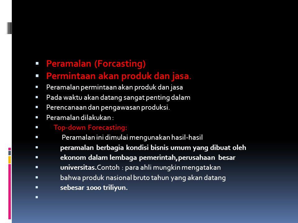 Peramalan (Forcasting) Permintaan akan produk dan jasa.