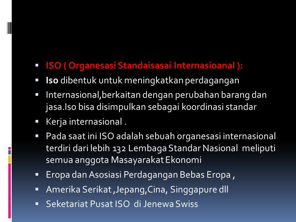ISO ( Organesasi Standaisasai Internasioanal ):