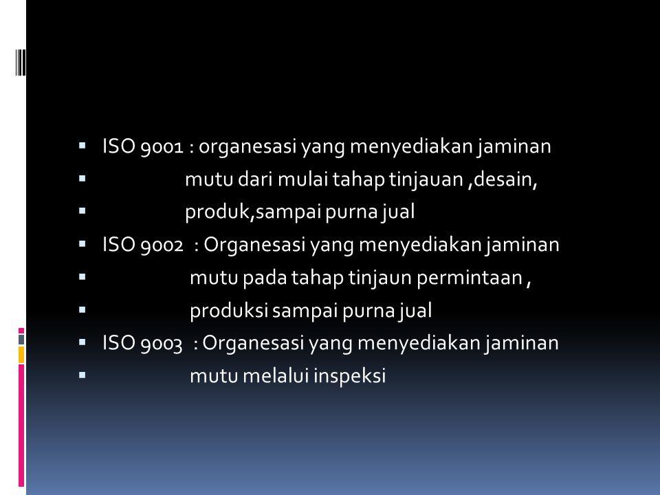 ISO 9001 : organesasi yang menyediakan jaminan
