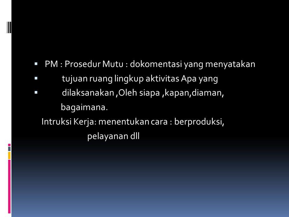 PM : Prosedur Mutu : dokomentasi yang menyatakan
