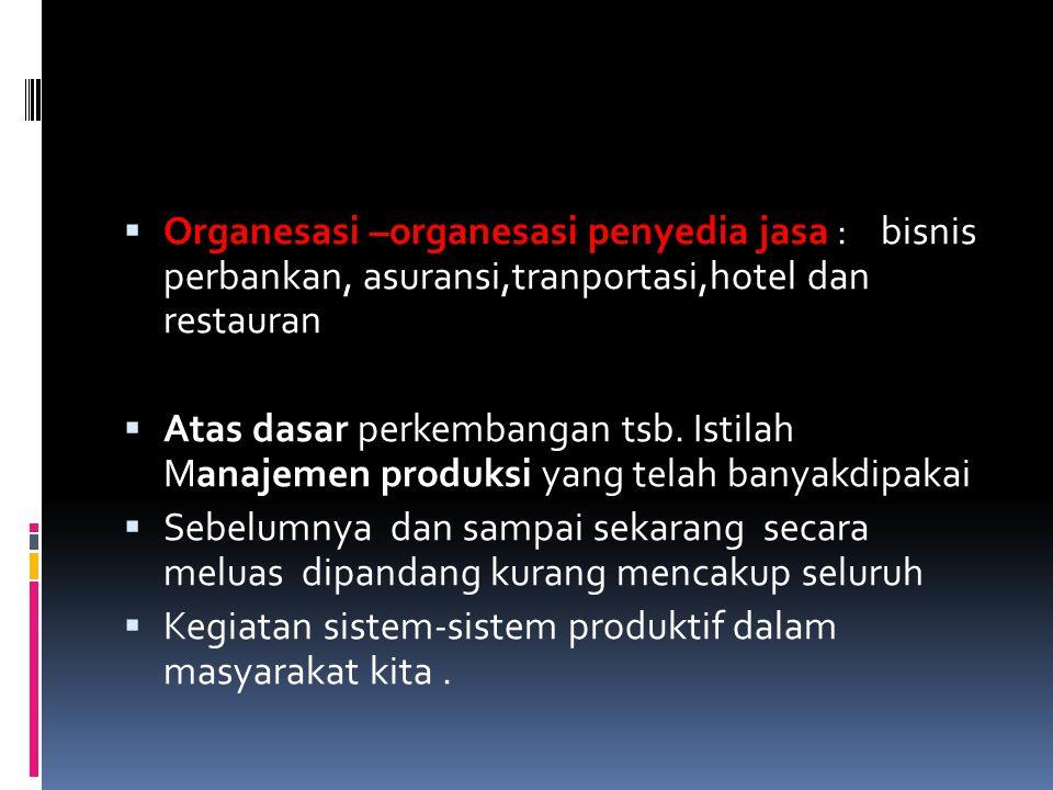 Organesasi –organesasi penyedia jasa : bisnis perbankan, asuransi,tranportasi,hotel dan restauran