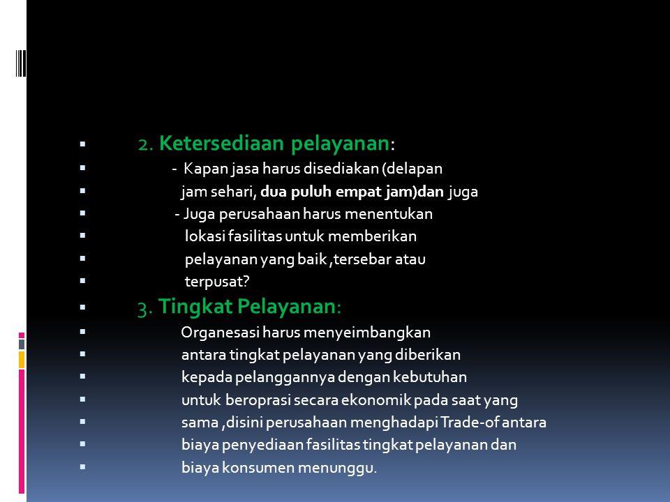 2. Ketersediaan pelayanan: