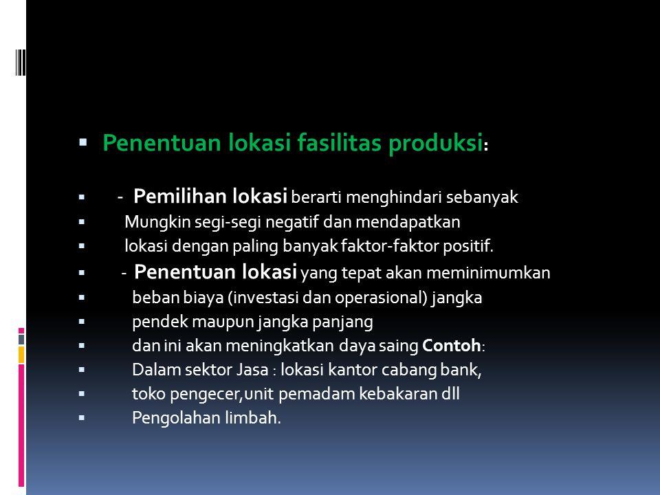 Penentuan lokasi fasilitas produksi: