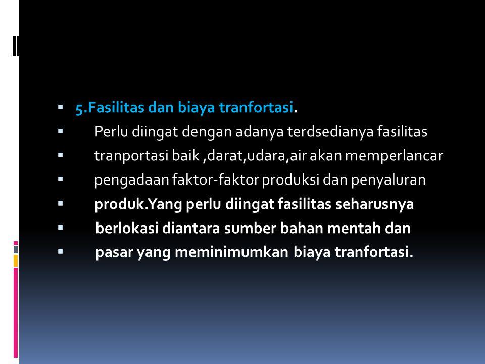 5.Fasilitas dan biaya tranfortasi.