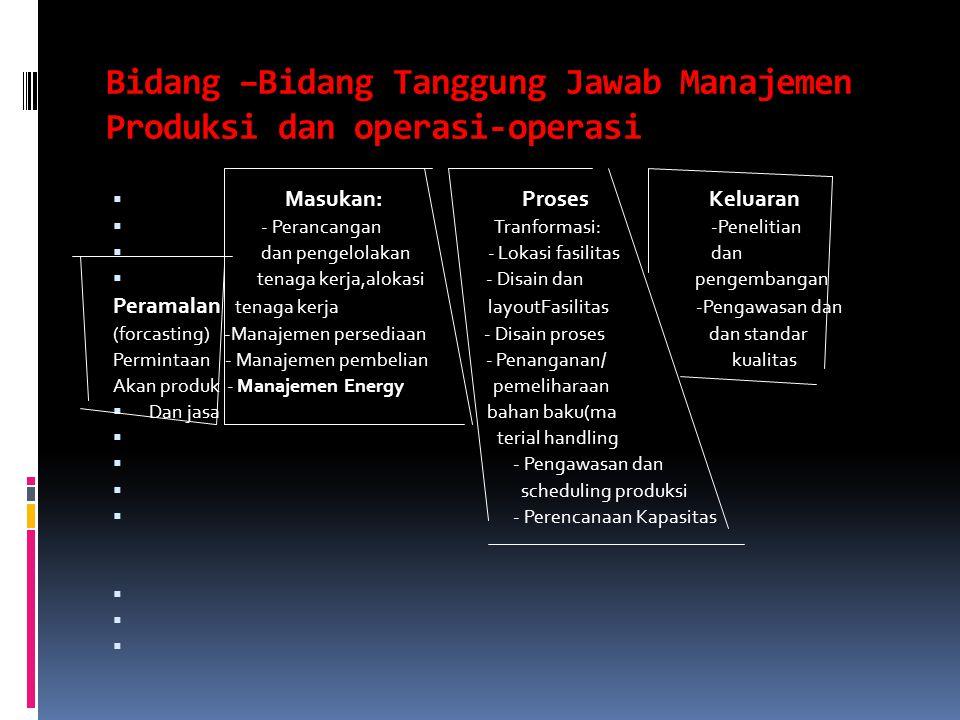Bidang –Bidang Tanggung Jawab Manajemen Produksi dan operasi-operasi