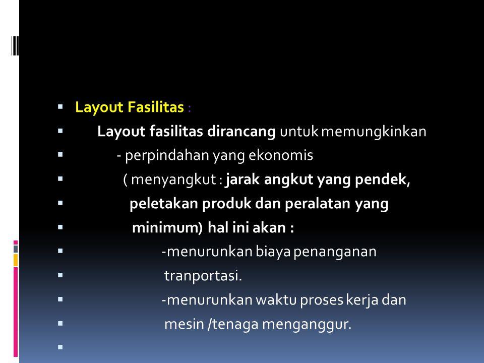 Layout Fasilitas : Layout fasilitas dirancang untuk memungkinkan. - perpindahan yang ekonomis. ( menyangkut : jarak angkut yang pendek,