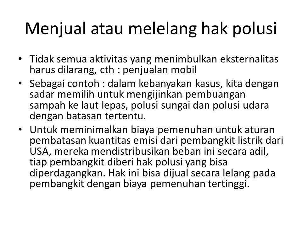 Menjual atau melelang hak polusi