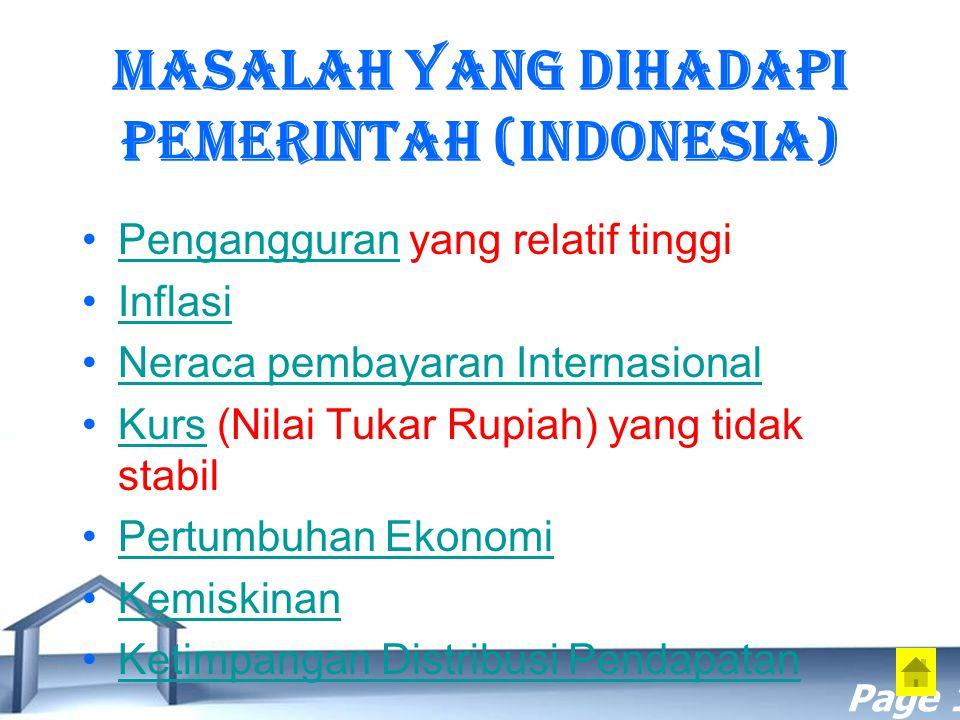 Masalah yang dihadapi Pemerintah (Indonesia)