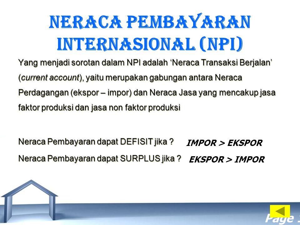 NERACA PEMBAYARAN INTERNASIONAL (NPI)