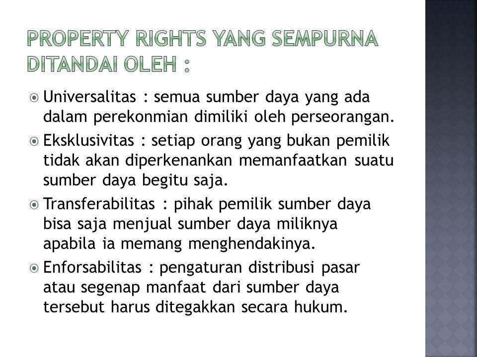 Property Rights yang sempurna ditandai oleh :