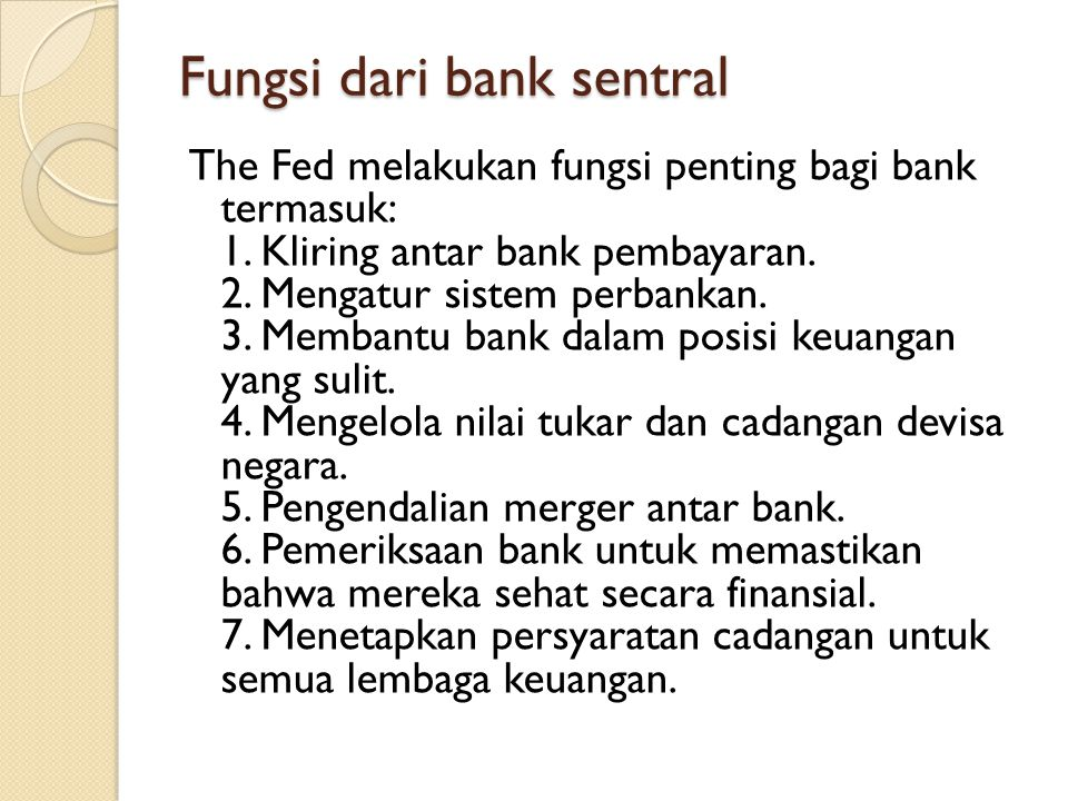 Fungsi dari bank sentral