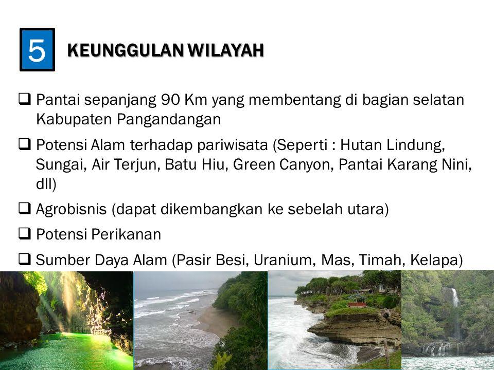 KEUNGGULAN WILAYAH 5. Pantai sepanjang 90 Km yang membentang di bagian selatan Kabupaten Pangandangan.