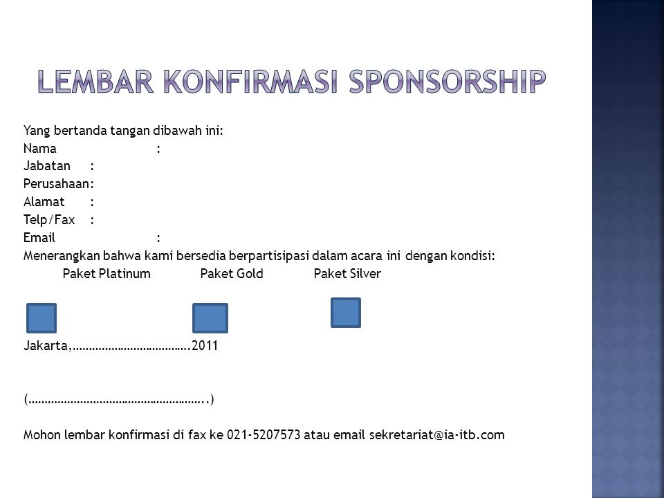 Lembar Konfirmasi sponsorship