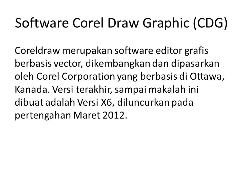 Software Corel Draw Graphic (CDG)