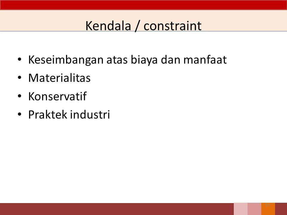 Kendala / constraint Keseimbangan atas biaya dan manfaat Materialitas