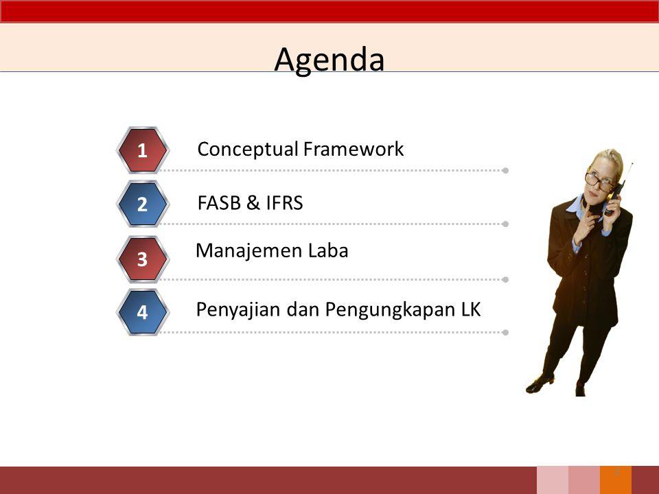 Agenda 1 Conceptual Framework 2 FASB & IFRS Manajemen Laba 3