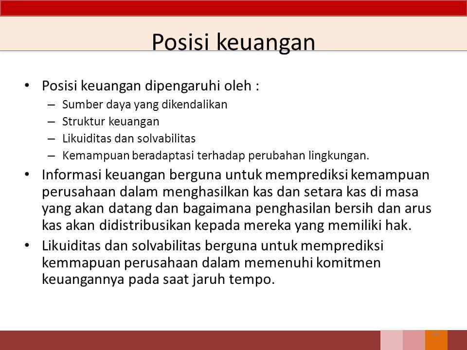 Posisi keuangan Posisi keuangan dipengaruhi oleh :