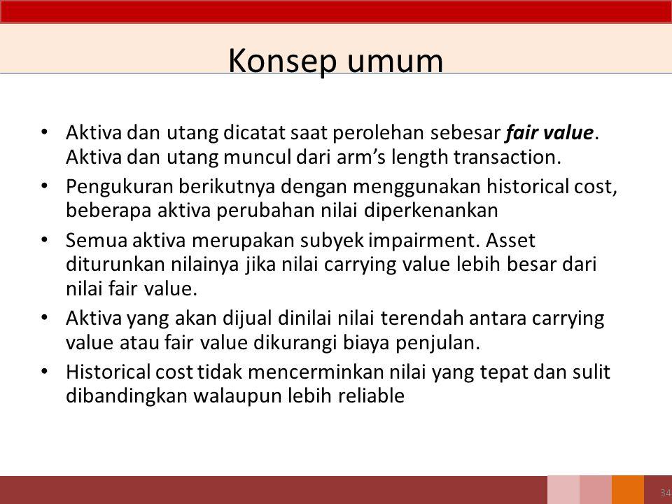 Konsep umum Aktiva dan utang dicatat saat perolehan sebesar fair value. Aktiva dan utang muncul dari arm's length transaction.