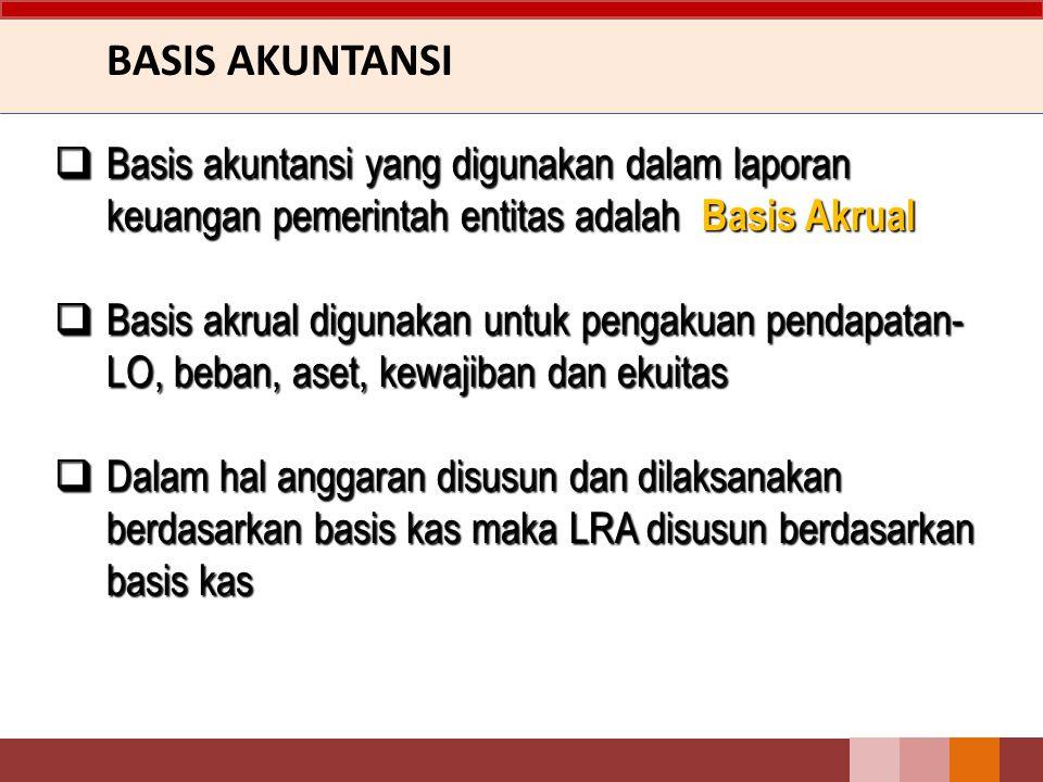 BASIS AKUNTANSI Basis akuntansi yang digunakan dalam laporan keuangan pemerintah entitas adalah Basis Akrual.