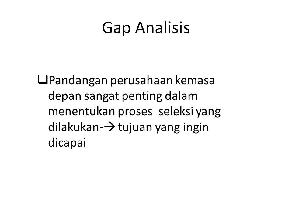 Gap Analisis Pandangan perusahaan kemasa depan sangat penting dalam menentukan proses seleksi yang dilakukan- tujuan yang ingin dicapai.