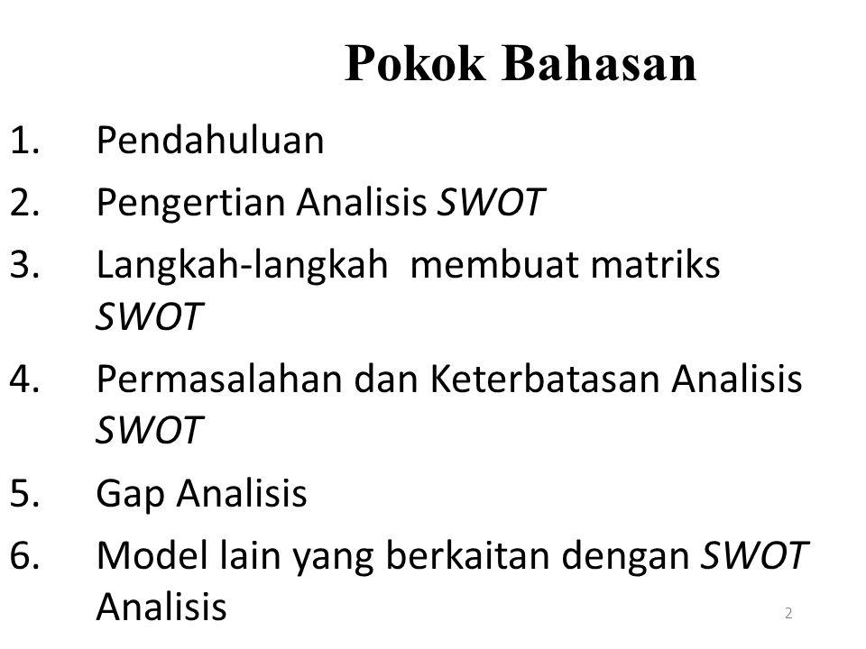 Pokok Bahasan Pendahuluan. Pengertian Analisis SWOT. Langkah-langkah membuat matriks SWOT. Permasalahan dan Keterbatasan Analisis SWOT.