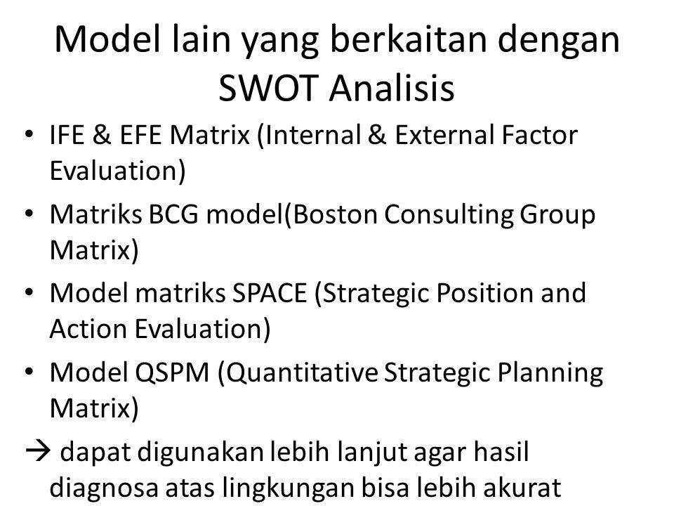 Model lain yang berkaitan dengan SWOT Analisis