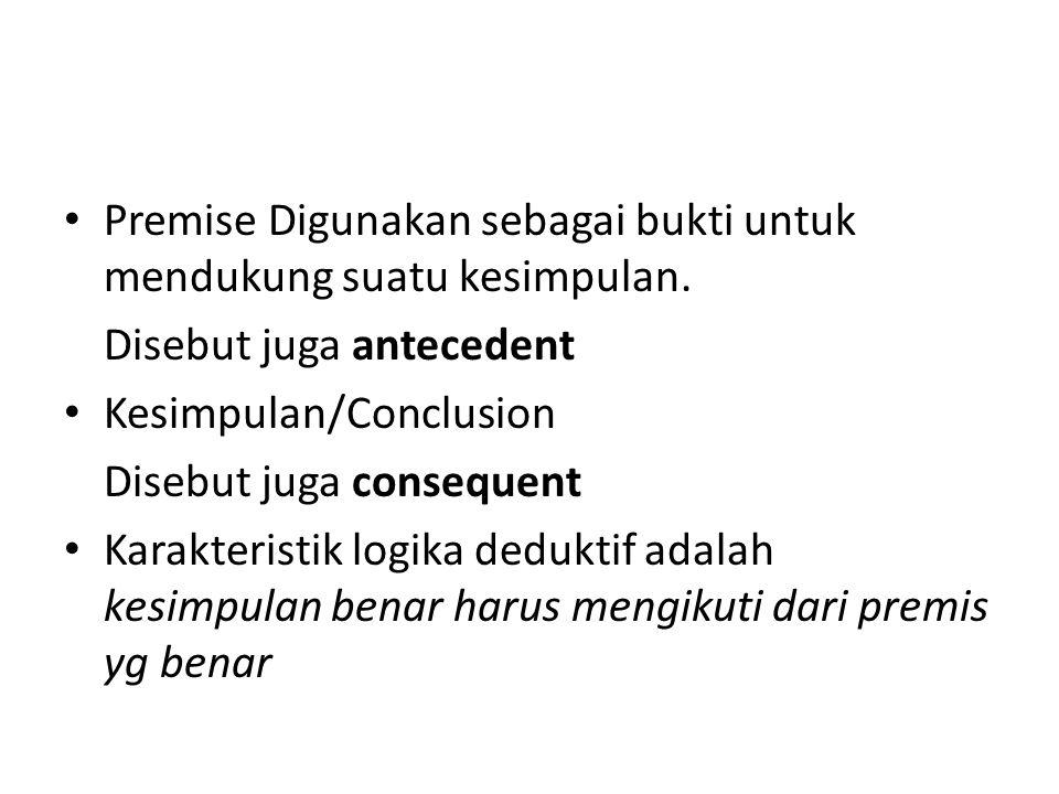 Premise Digunakan sebagai bukti untuk mendukung suatu kesimpulan.