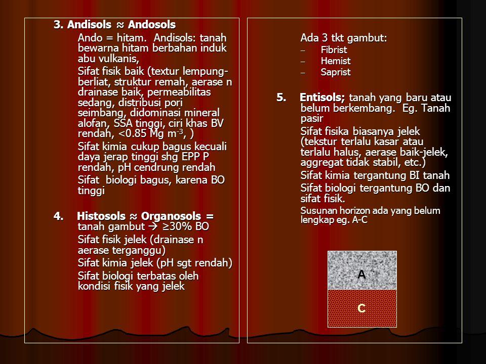 3. Andisols ≈ Andosols Ando = hitam. Andisols: tanah bewarna hitam berbahan induk abu vulkanis,