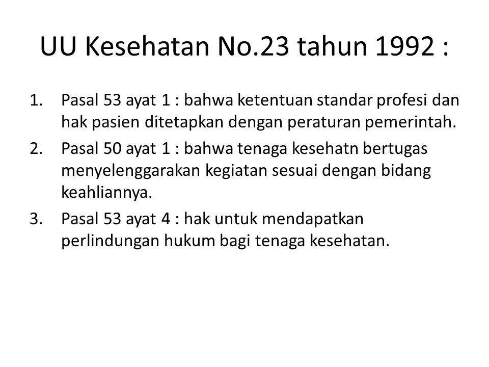 UU Kesehatan No.23 tahun 1992 : Pasal 53 ayat 1 : bahwa ketentuan standar profesi dan hak pasien ditetapkan dengan peraturan pemerintah.