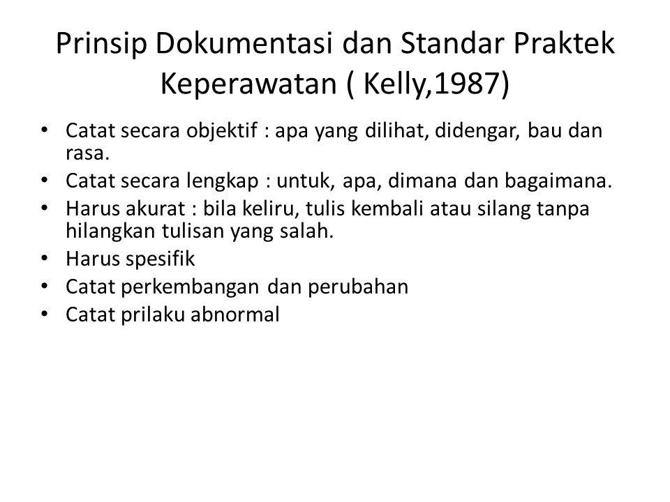 Prinsip Dokumentasi dan Standar Praktek Keperawatan ( Kelly,1987)