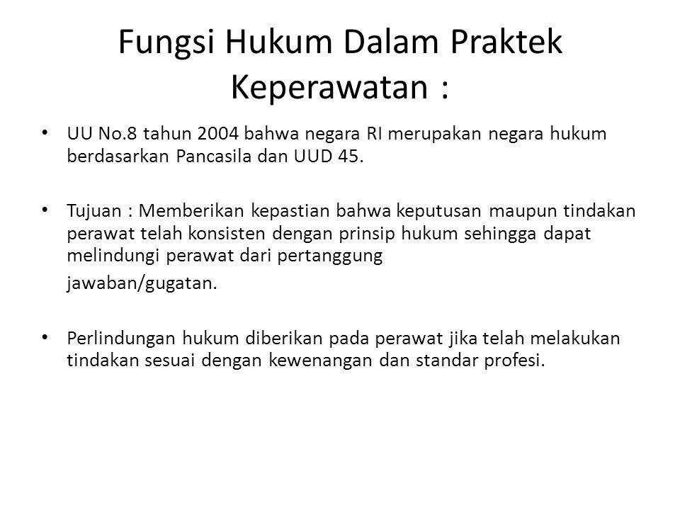 Fungsi Hukum Dalam Praktek Keperawatan :