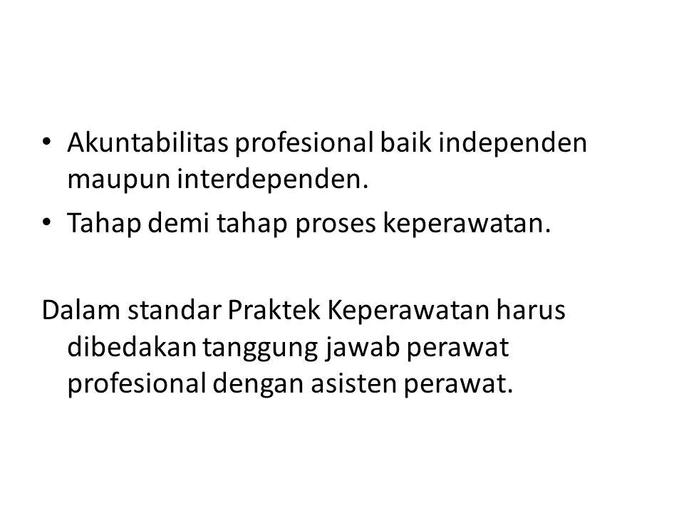 Akuntabilitas profesional baik independen maupun interdependen.