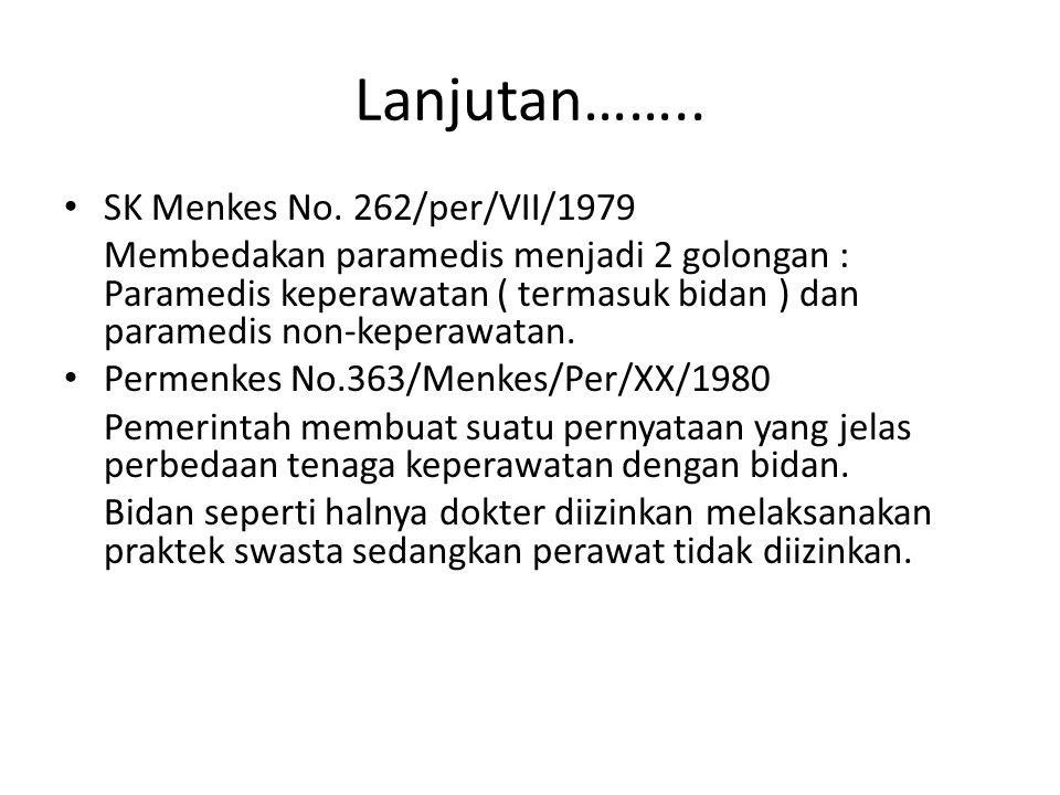 Lanjutan…….. SK Menkes No. 262/per/VII/1979