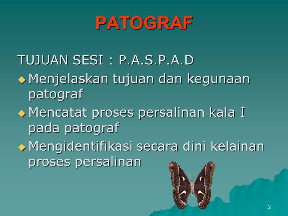 PATOGRAF TUJUAN SESI : P.A.S.P.A.D