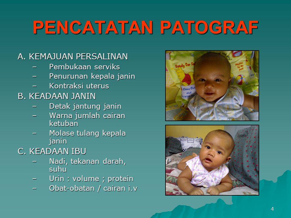 PENCATATAN PATOGRAF A. KEMAJUAN PERSALINAN B. KEADAAN JANIN