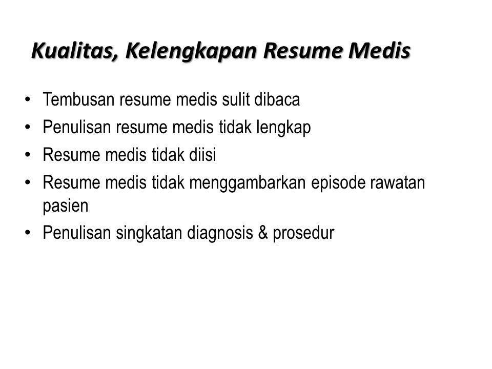Kualitas, Kelengkapan Resume Medis