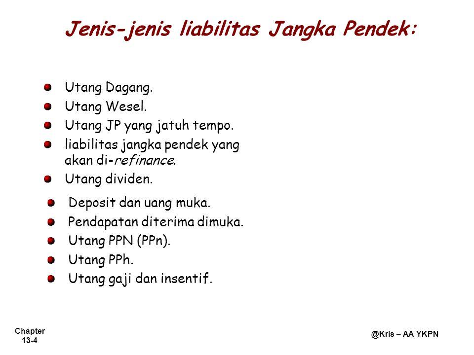 Jenis-jenis liabilitas Jangka Pendek:
